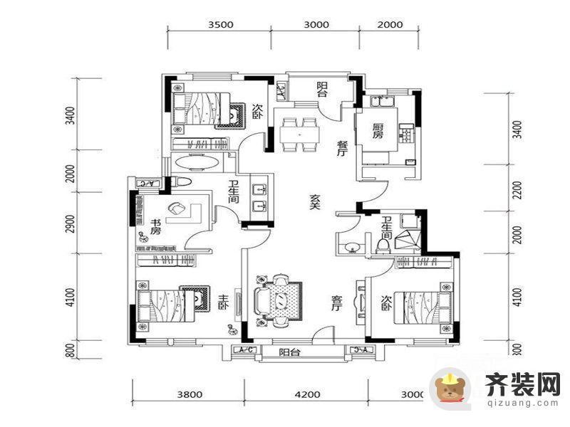 绿地中央墅D户型户型图 4室2厅2卫1厨