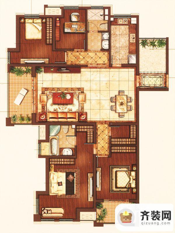 江南府邸5#6#7#至尊四房 4室2厅2卫1厨