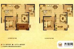 中南御锦城20# P1户型 2室2厅1卫1厨