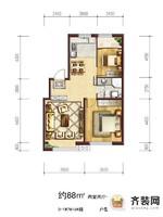 六合一方D区户型1 2室2厅1卫1厨