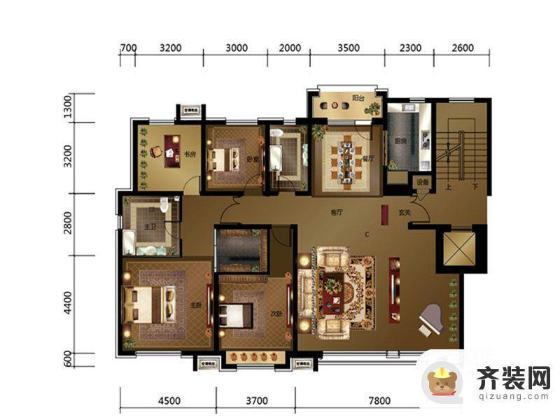 绿地中央墅C区c户型 4室2厅2卫1厨