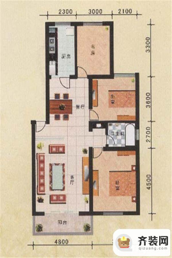 旗山小区三室两厅一卫 3室2厅1卫1厨