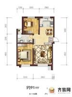 六合一方D区户型9 2室2厅1卫1厨