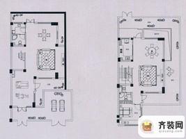 万科蓝山所有楼栋伴山联排E2户型负一层和一层 1室2厅1卫1厨