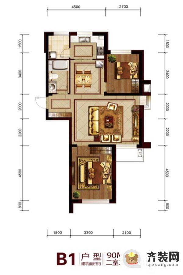 六合一方B1户型 2室2厅1卫1厨