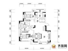 绿地中央墅B1户型户型图 2室2厅2卫1厨