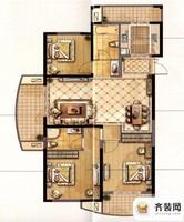 永隆城市广场骏景苑2号楼124平户型 3室2厅2卫1厨