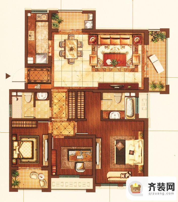 江南府邸5#6#7#奢阔三房 3室2厅2卫1厨