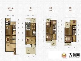 绿地中央墅四、六联排别墅户型图 5室3厅6卫1厨