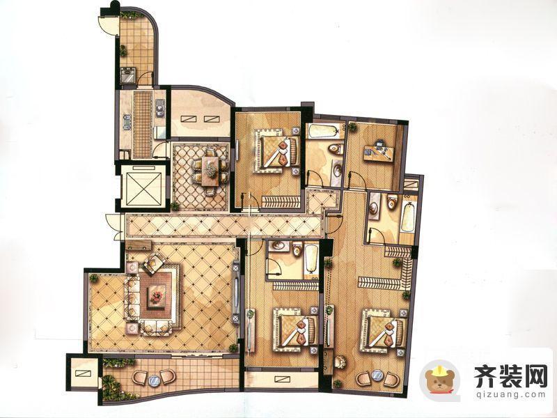 永隆城市广场雍景苑F4户型图 4室2厅3卫1厨