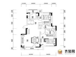 绿地中央墅B2户型户型图 2室2厅2卫1厨