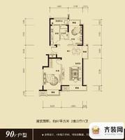 保利百合香湾户型图三期F1户型图 2室2厅1卫