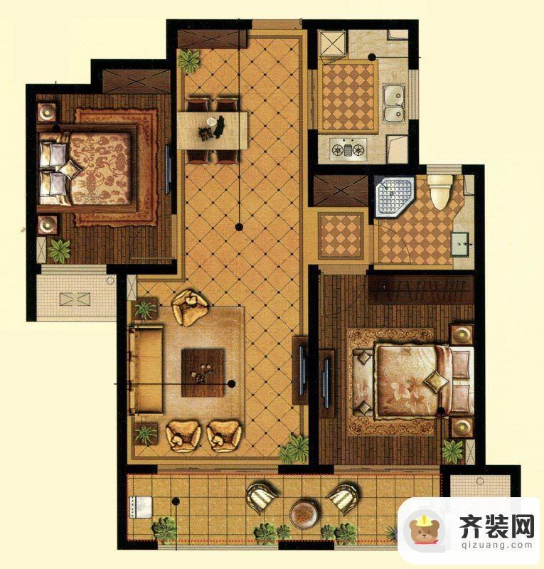 中建·大观天下10#11#智观户型 2室2厅1卫1厨