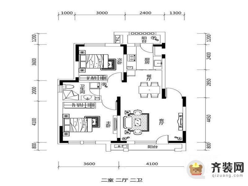 绿地中央墅A户型户型图 2室2厅2卫1厨