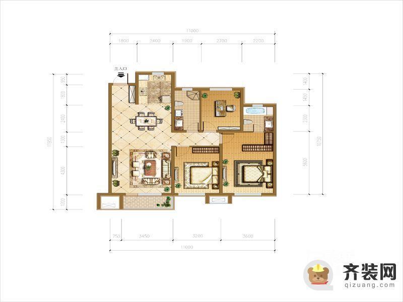 华润橡树湾户型图F户型图 3室2厅2卫1厨