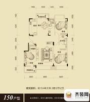 保利百合香湾户型图三期不带飘窗户型图 3室2厅2卫