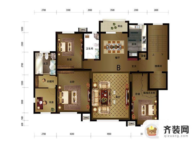 绿地中央墅c区b户型 4室2厅2卫1厨