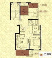 江山名洲·观澜149、151、153#中间户B2户型 2室2厅1卫1厨