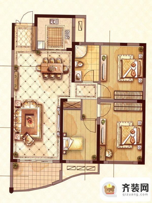 永隆城市广场馨景苑N3户型 3室2厅1卫1厨