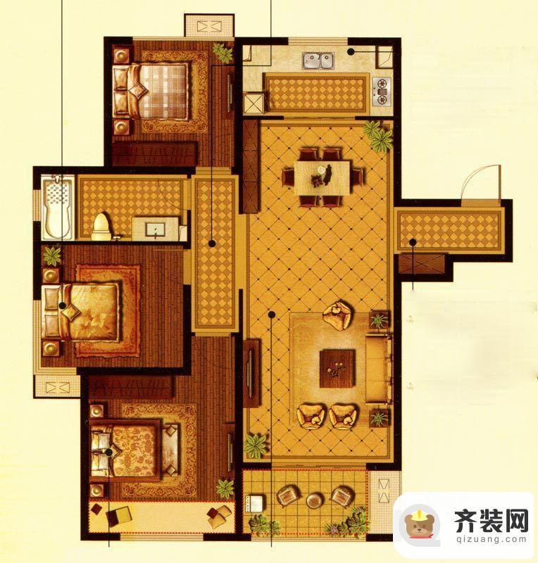 中建·大观天下10#11#博观户型 3室2厅1卫1厨