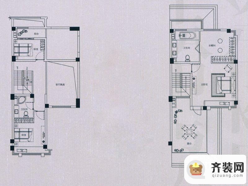 万科蓝山所有别墅楼栋伴山联排E2户型二层和三层 2室1厅1卫