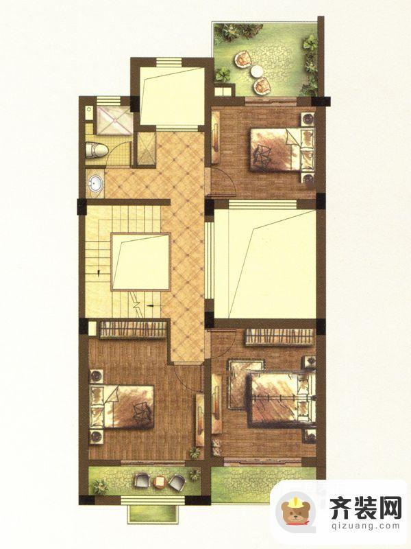 江南府邸尊邸别墅B1户型二层 5室4厅4卫1厨