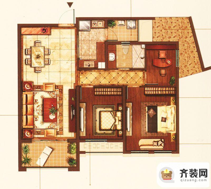 江南府邸5#6#7#舒适三房 3室2厅1卫1厨