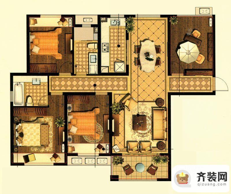 中建·大观天下7#、8#、9#达观户型 3室2厅2卫1厨