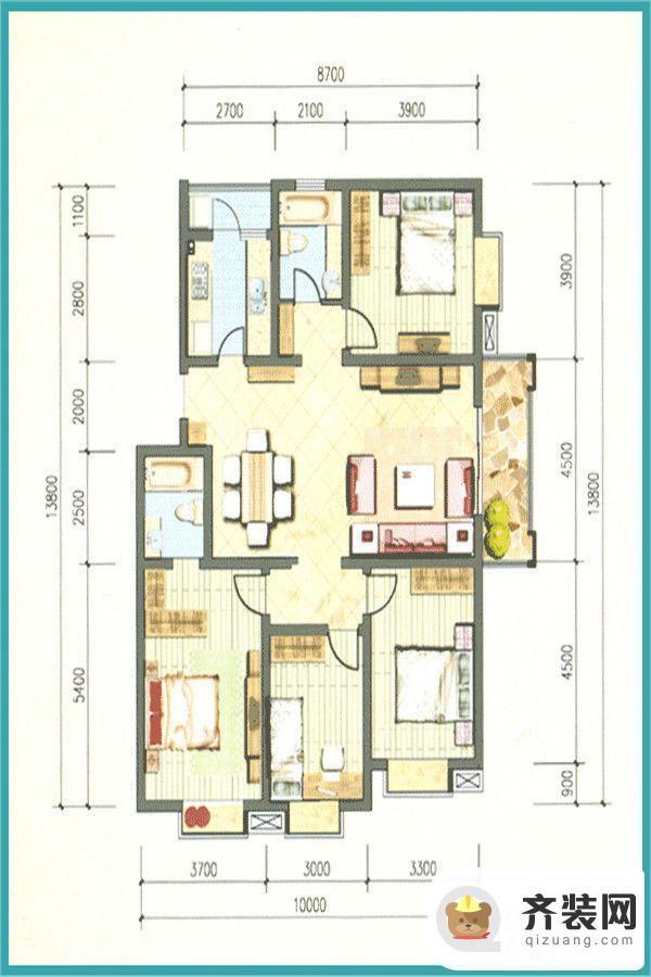 旗山小区四室两厅两卫 4室2厅2卫1厨