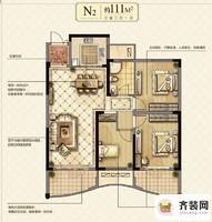 永隆城市广场馨景苑N2户型  3室2厅1卫1厨