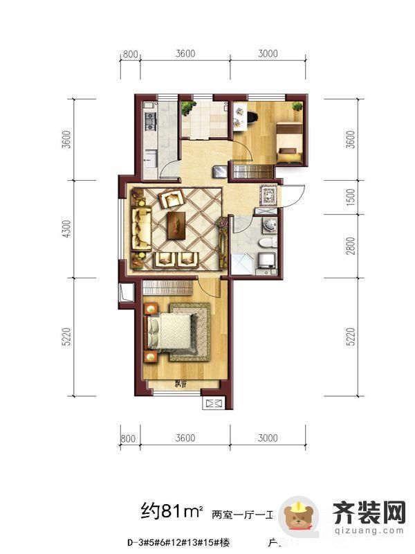 六合一方D区户型11 2室2厅1卫1厨