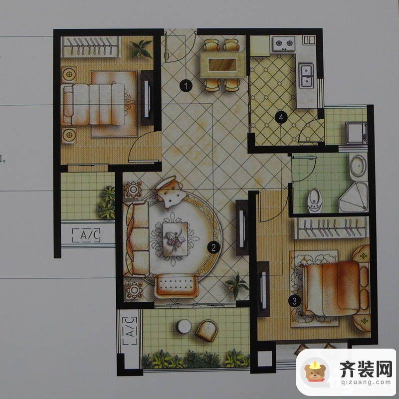绿地商务城一期3#标准层A1户型 2室2厅1卫1厨