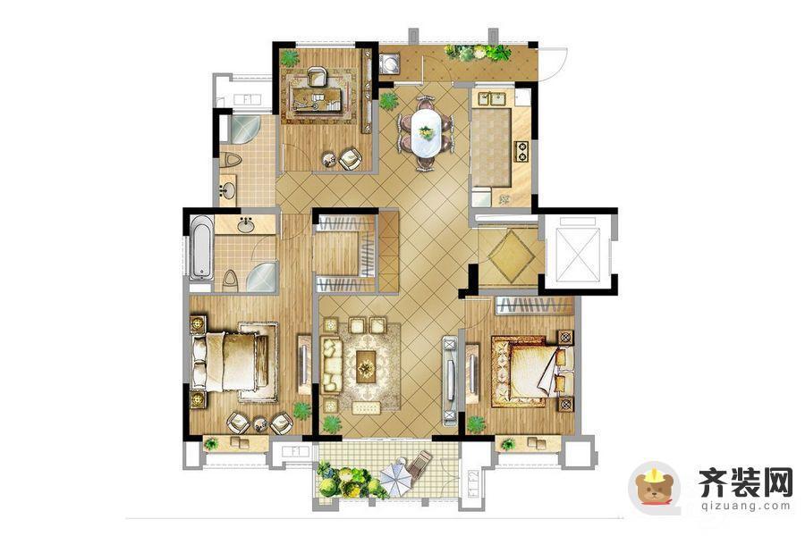 华润橡树湾橡树湾二期4号楼156㎡ 4室2厅1卫1厨