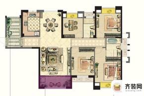 中庚·海德公园二期标准层O户型 4室2厅2卫1厨