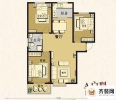 建业·阳光国际A户型 3室2厅1卫1厨