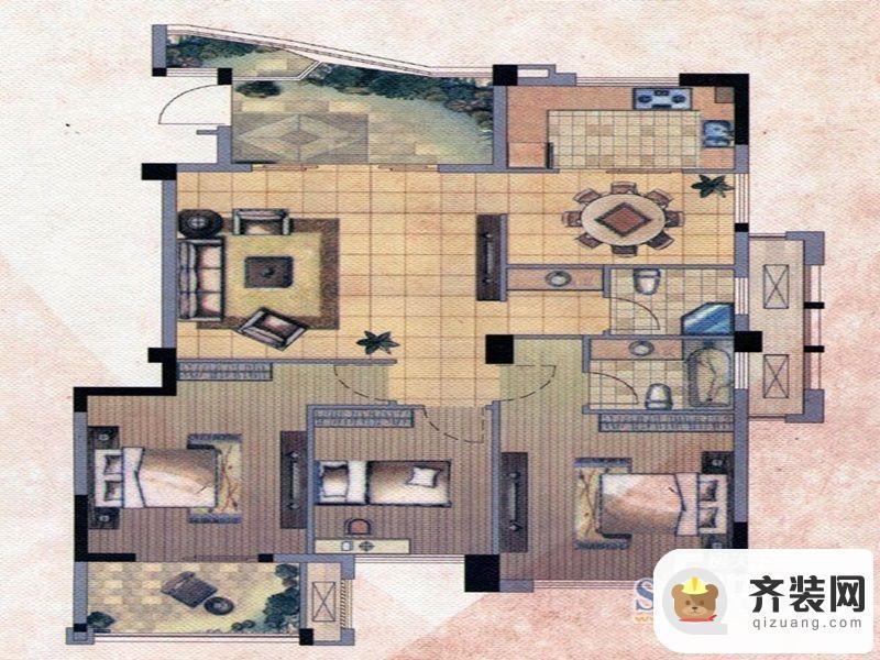 中庚·海德公园二期52#标准层E户型 3室2厅2卫1厨