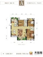 国际社区二期观园13号楼标准层A户型 3室2厅2卫1厨