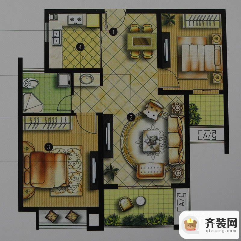 绿地商务城一期3#标准层B1户型 2室2厅1卫1厨