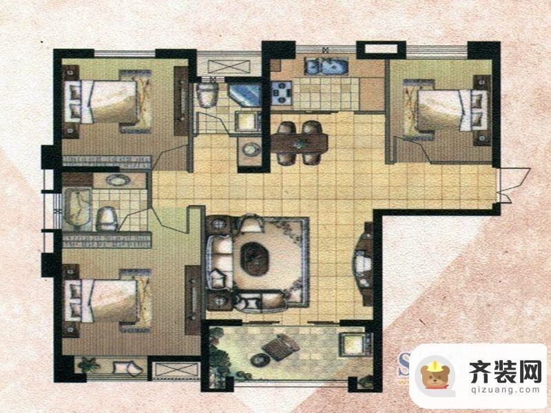 中庚·海德公园二期52#标准层G户型 3室2厅2卫1厨