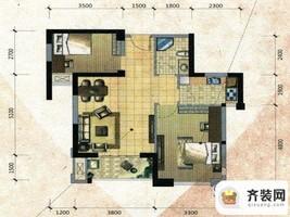 中庚·海德公园二期52#标准层B户型 2室2厅1卫1厨