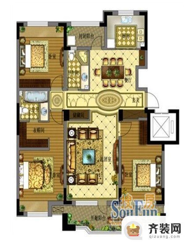 保利拉菲公馆A2户型图 3室2厅2卫1厨