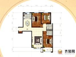 公园时代1#C-2户型 3室2厅2卫1厨