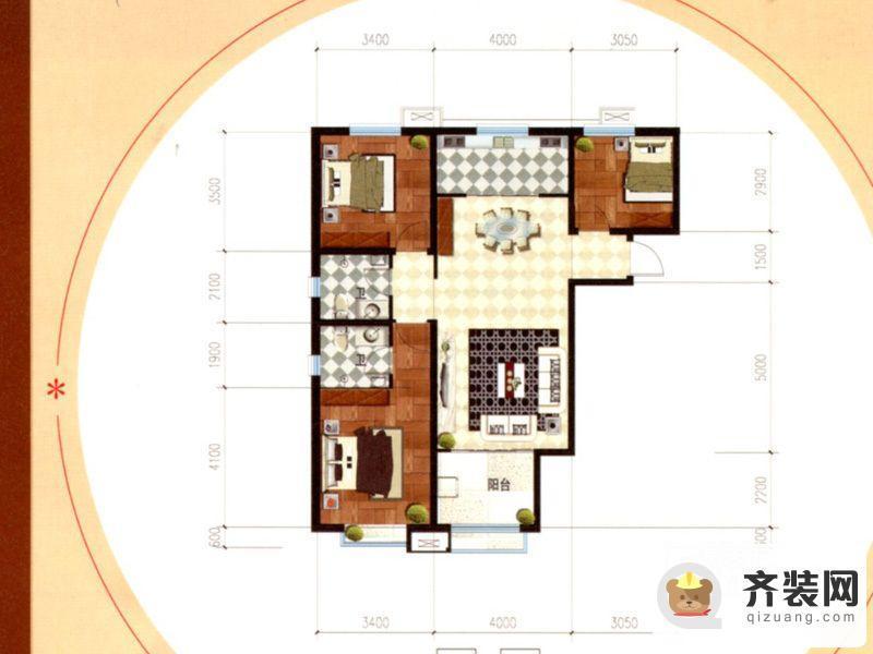 公园时代3#E-1户型 3室2厅2卫1厨