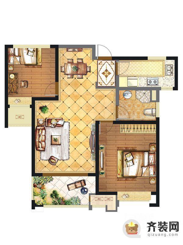 华润橡树湾二期7、12#楼标准层A2户型 2室2厅1卫1厨