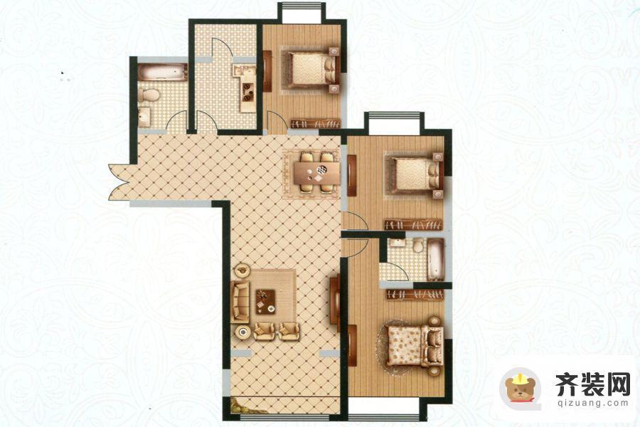 高教公寓项目四期143户型 3室2厅2卫1厨