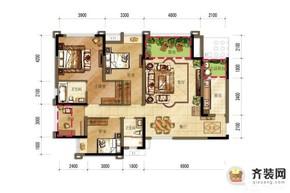 国际社区一期海悦府3/4号楼2/5号房户型图 3室2厅2卫1厨