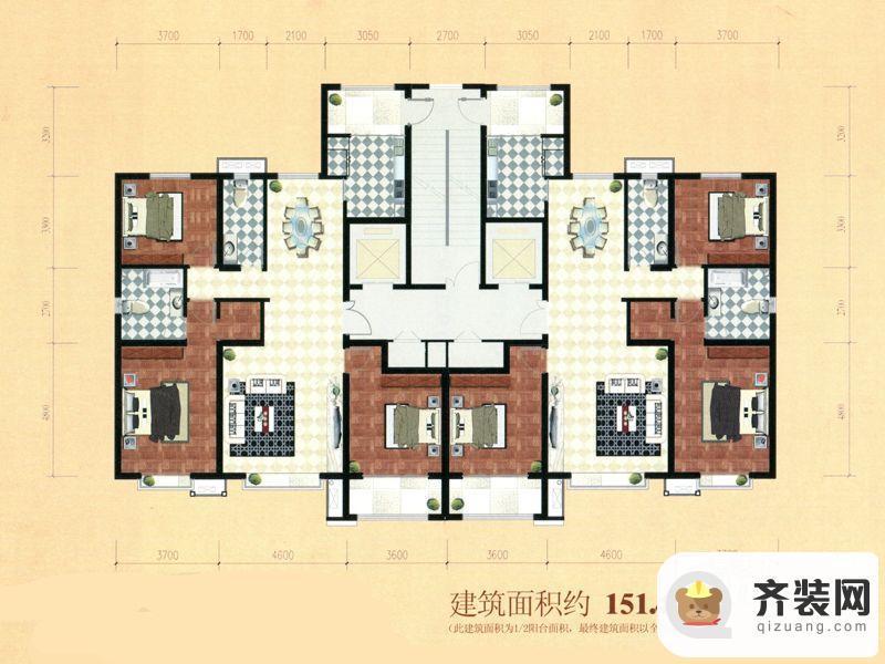 公园时代三室151.49面积户型 3室2厅2卫1厨