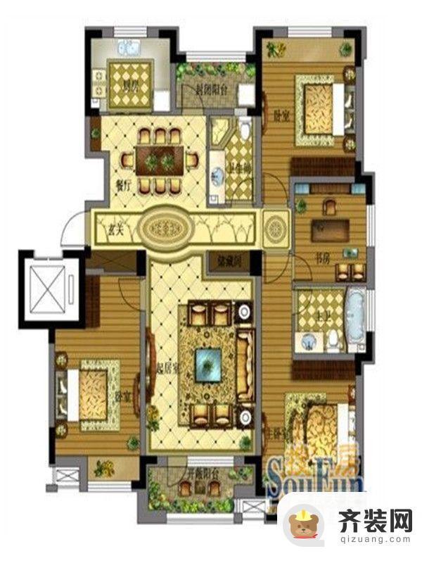 保利拉菲公馆A1户型图 4室2厅2卫1厨