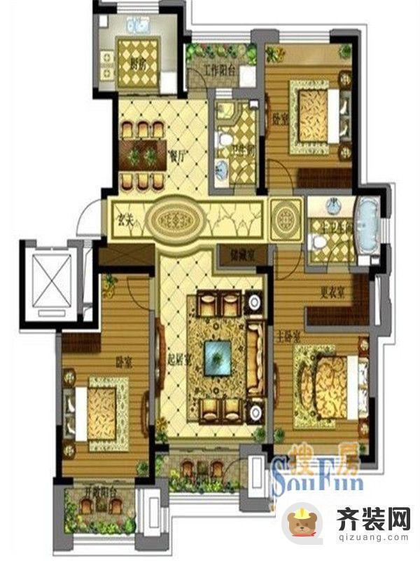 保利拉菲公馆E1户型图 3室2厅2卫1厨