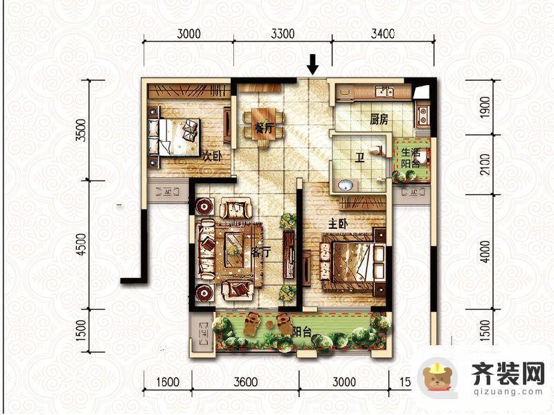 国际社区一期天际标准层A1户型 2室2厅1卫1厨